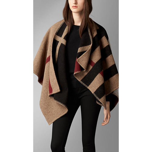 BURBERRY WOMEN'S CHECK WOOL AND CASHMERE BLANKET PONCHO HOUSE CHECK/BLACK