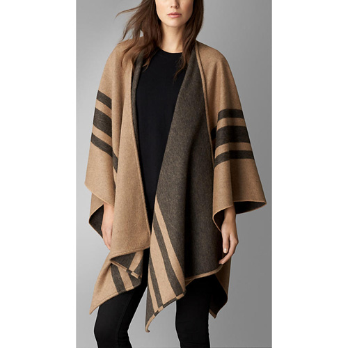 BURBERRY WOMEN'S STRIPED CASHMERE MERINO WOOL WRAP CAMEL STRIPE