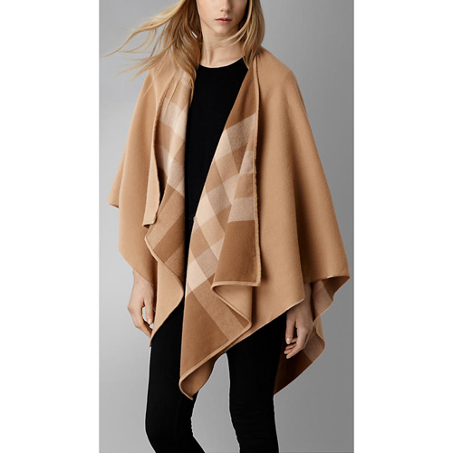 BURBERRY WOMEN'S CHECK-LINED WOOL WRAP MID CAMEL CHK