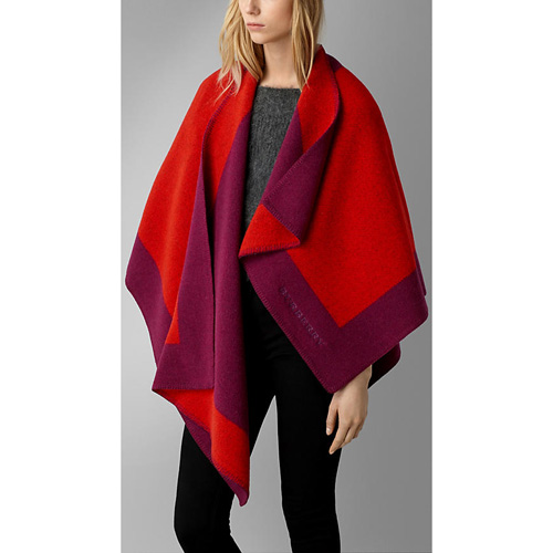 BURBERRY WOMEN'S BORDER DETAIL WOOL CASHMERE PONCHO BRIGHT CORAL RED
