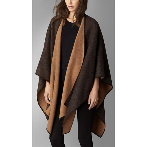 BURBERRY WOMEN'S DOUBLE-FACED CASHMERE WRAP BLACK