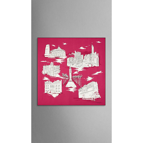 BURBERRY WOMEN'S HONG KONG LANDMARKS SILK SQUARE - MEDIUM CHERRY PINK PRINT