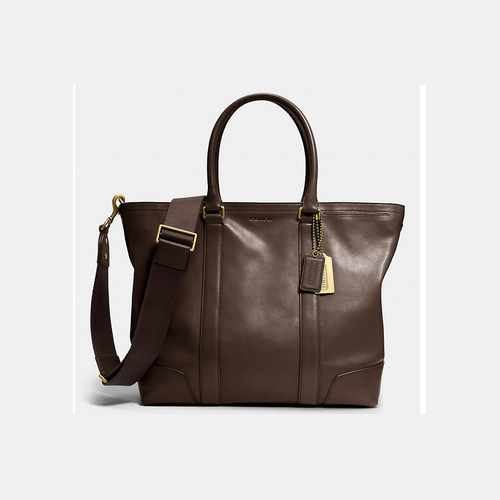 COACH BLEECKER legacy business tote BRASS/MAHOGANY