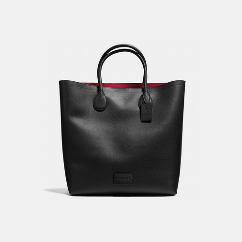 COACH UNLINED mercer tote BLACK ANTIQUE NICKEL/BLACK/RED BANDIT
