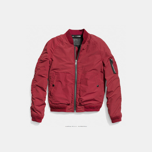 COACH WAXED nylon aviator jacket RED