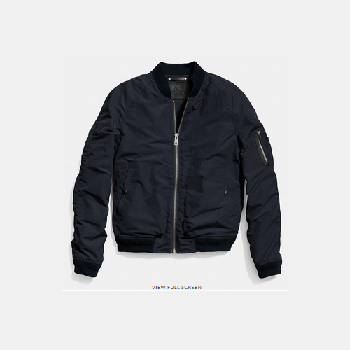 COACH WAXED nylon aviator jacket NAVY