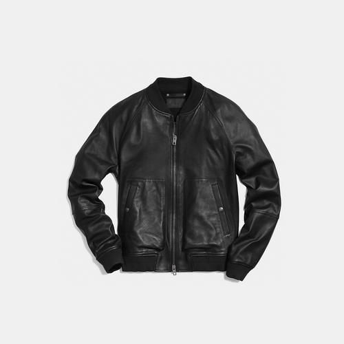 COACH LEATHER aviator jacket BLACK