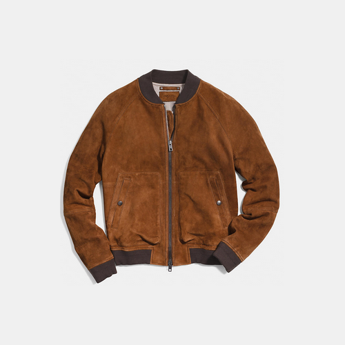 COACH SUEDE aviator jacket SADDLE