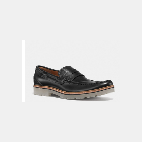 COACH HOUSTON penny loafer BLACK