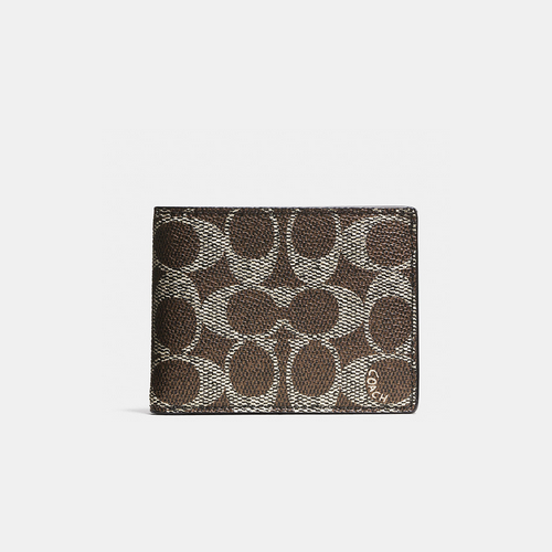 COACH SLIM billfold id wallet SADDLE