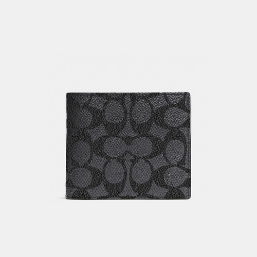 COACH COMPACT id wallet CHARCOAL