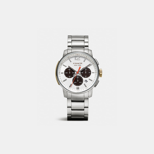 COACH BLEECKER chrono stainless steel bracelet watch WHITE