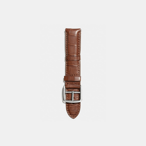 COACH BLEECKER watch strap in crocodile BROWN