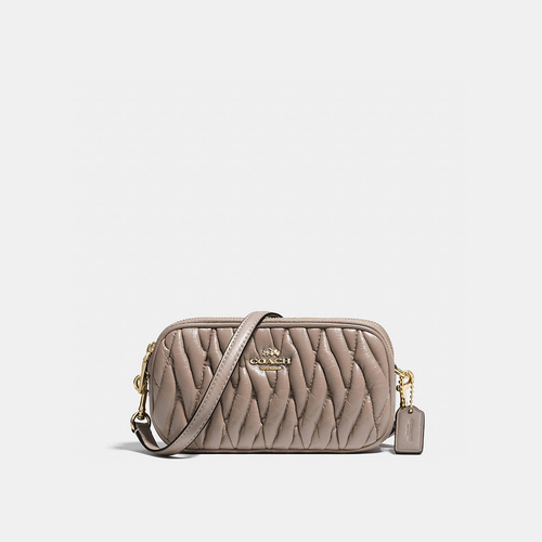COACH CROSSBODY pouch LIGHT GOLD/GREY BIRCH