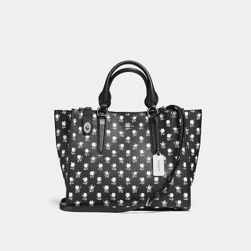 COACH CROSBY carryall SILVER/BLACK PARCHMENT BADLANDS FLORA