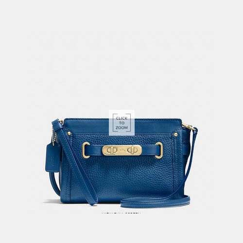 COACH swagger wristlet LIGHT GOLD/DENIM