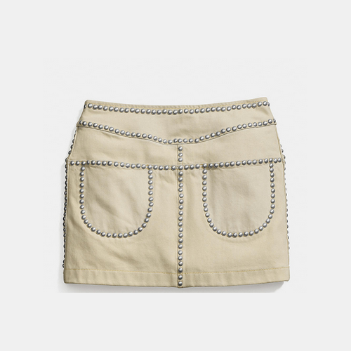COACH BLEACHED denim lacquer rivet skirt LIGHT DENIM