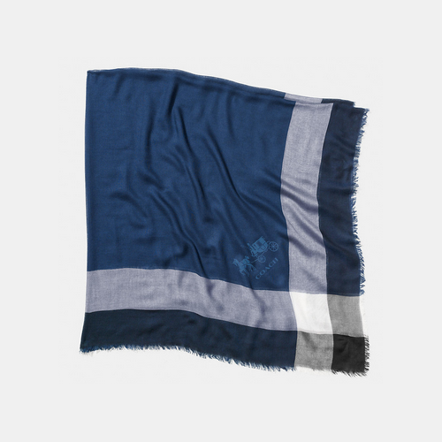 COACH LIGHTWEIGHT windowpane challis scarf NAVY/BLACK