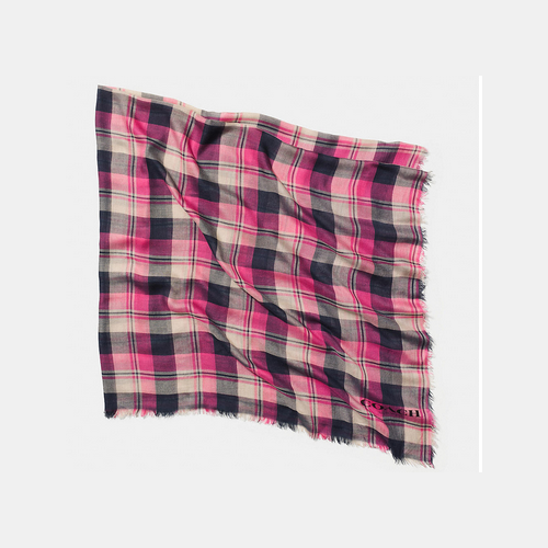 COACH BUFFALO check plaid square scarf PINK/NAVY