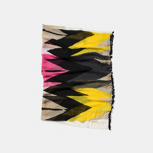 COACH HAWK feather shawl with tassels MULTICOLOR
