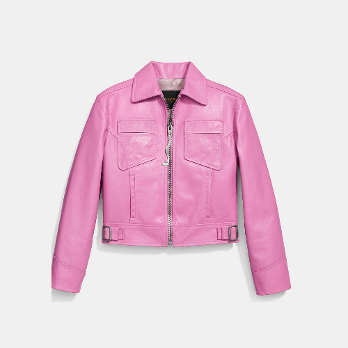 COACH CROPPED mod jacket PUCE