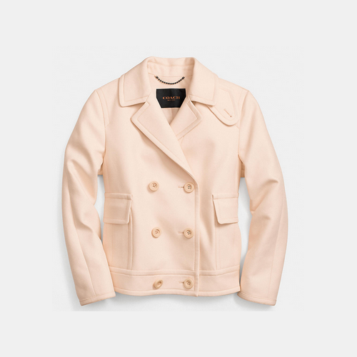 COACH ROUND collar cotton peacoat APRICOT