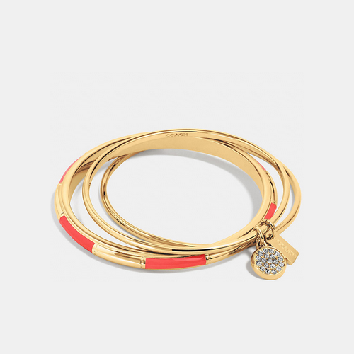COACH plaque bangle set GOLD/WATERMELON