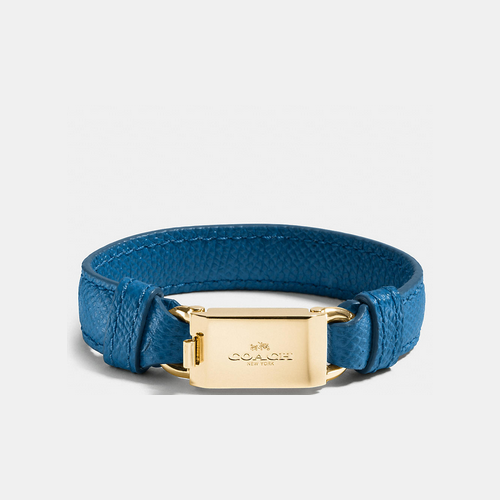 COACH LEATHER horse and carriage id bracelet GOLD/DENIM