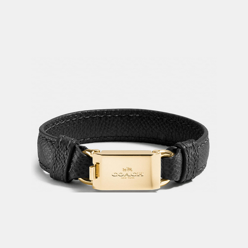 COACH LEATHER horse and carriage id bracelet GOLD/BLACK