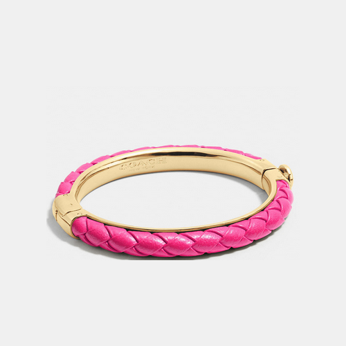 COACH BRAIDED leather hinged bangle GOLD/PINK RUBY