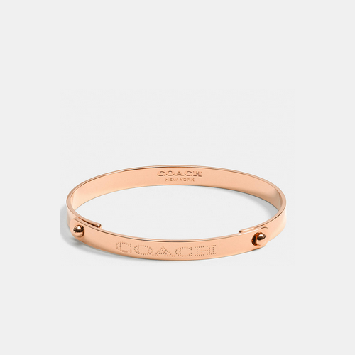 COACH metal plaque tension bangle ROSEGOLD
