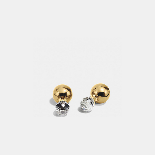 COACH DOUBLE spheres quartz earrings GOLD/CLEAR