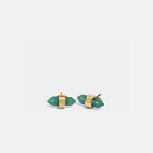 COACH AMULET stud earrings GOLD/PALE GREEN