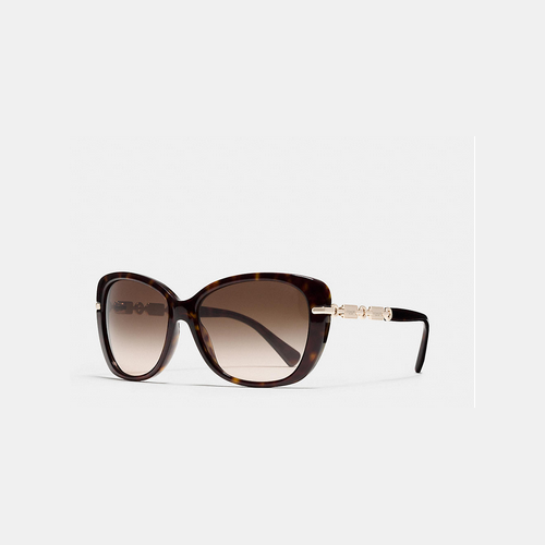 COACH HANGTAG chain cat-eye sunglasses DARK TORTOISE/LIGHT GOLD