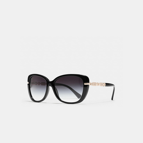 COACH HANGTAG chain cat-eye sunglasses BLACK/LIGHT GOLD