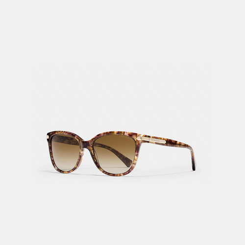 COACH TAG temple cat eye sunglasses CONFETTI LIGHT BROWN