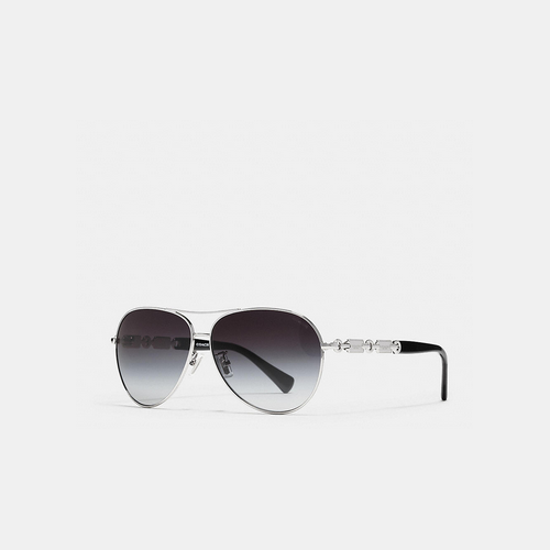 COACH HANGTAG chain sunglasses SILVER/BLACK