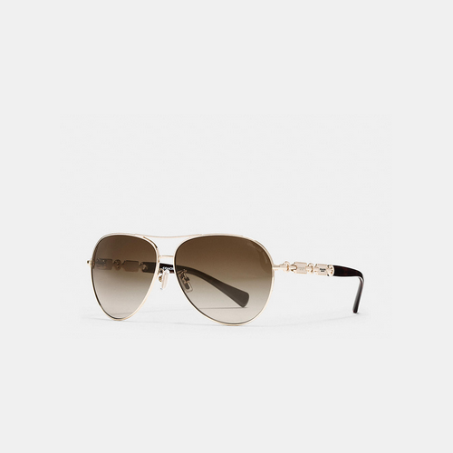 COACH HANGTAG chain sunglasses LIGHT GOLD/DARK TORTOISE