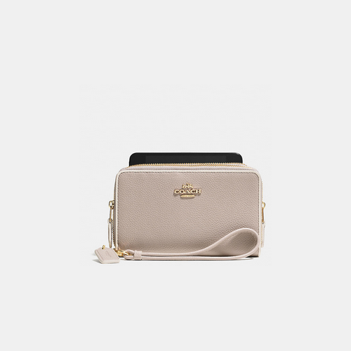 COACH DOUBLE zip phone wallet LIGHT GOLD/GREY BIRCH/CHALK