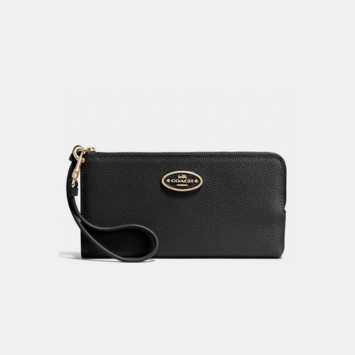 COACH L-ZIP wallet LIGHT GOLD/BLACK