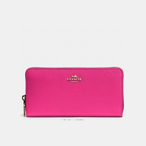 COACH ACCORDION zip wallet LIGHT GOLD/PINK RUBY