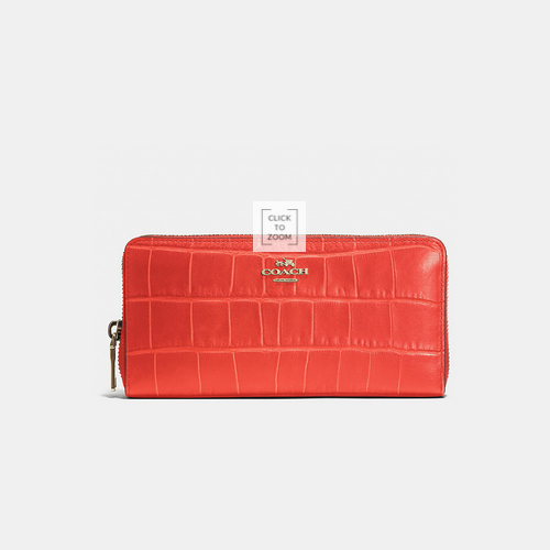 COACH ACCORDION zip wallet LIGHT GOLD/WATERMELON