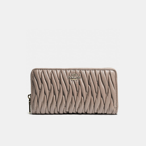 COACH ACCORDION zip wallet LIGHT GOLD/GREY BIRCH