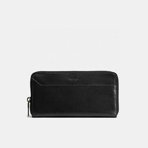 COACH MODERN accordion wallet BLACK/LIGHT SADDLE