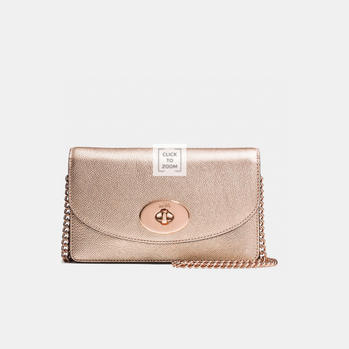 COACH CLUTCH wallet with chain ROSE GOLD/ROSE GOLD