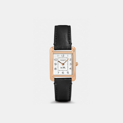 COACH PAGE rose gold plated strap watch BLACK