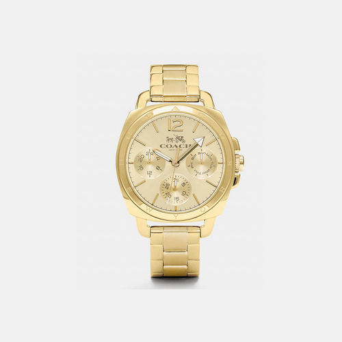 COACH BOYFRIEND 38mm gold plated multifunction bracelet watch GOLD PLATED