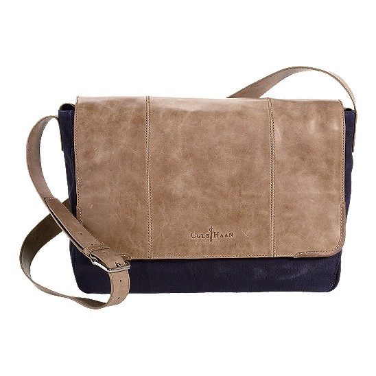Cole Haan Merced Messenger Navy Canvas/Taupe