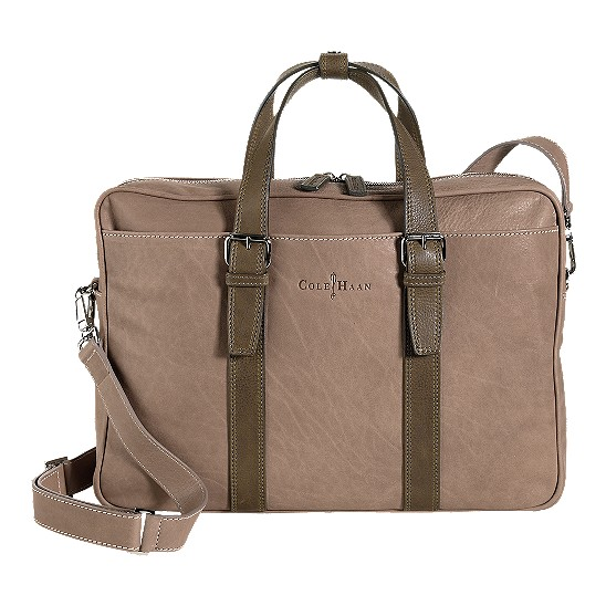 Cole Haan Trovato Zip Top Brief Taupe/Olive