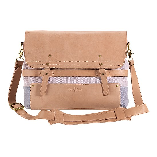 Cole Haan Kittery Point Large Messenger Stone/Ashley Blue Canvas/Buff